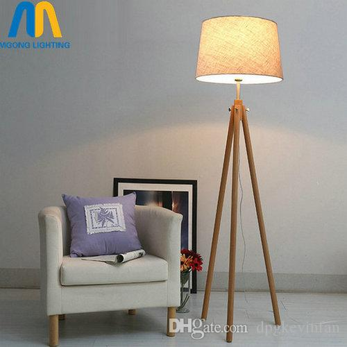 Modern Led Wooden Design Floor Lamps Standing Lamp Japan With Cloth Shade  Standing Lamp For Living