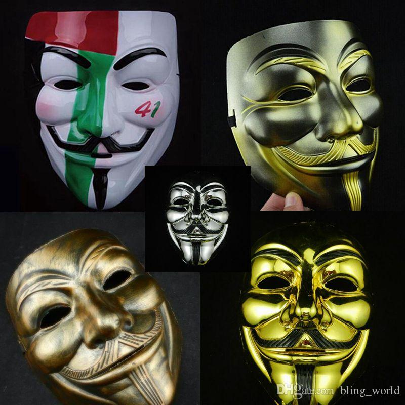 V Mask Yellow V Masks with Eyeliner Halloween Masquerade Masks Party Props Vendetta Anonymous Movie Guy 10 Designs free shipping YW271
