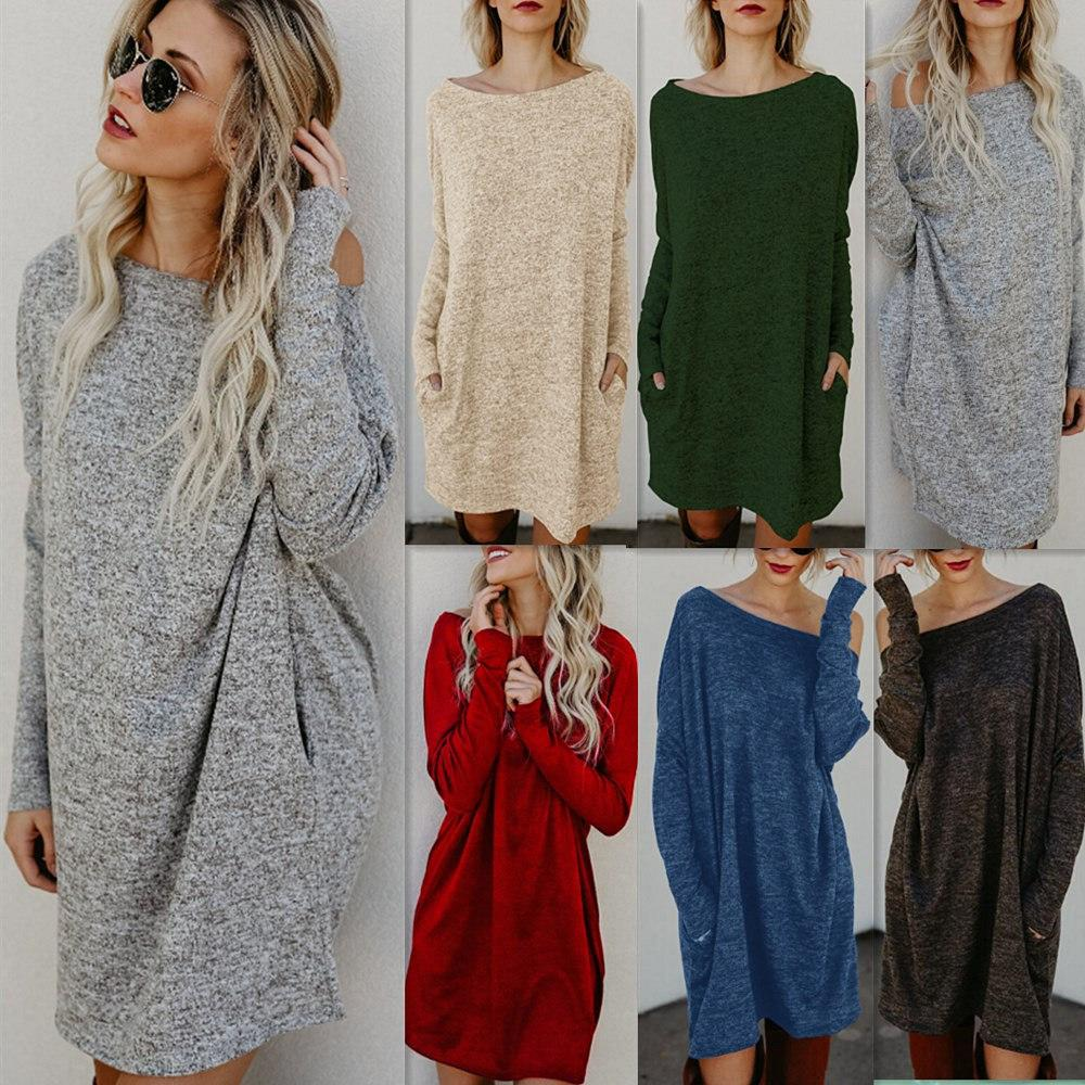 03d2a2501b38 Women Casual Knitted Long Sleeve Short Shirt Dresses Cotton Blended Solid  Color O Neck Loose Tops Womens Sundresses On Sale Party And Evening Dresses  From ...