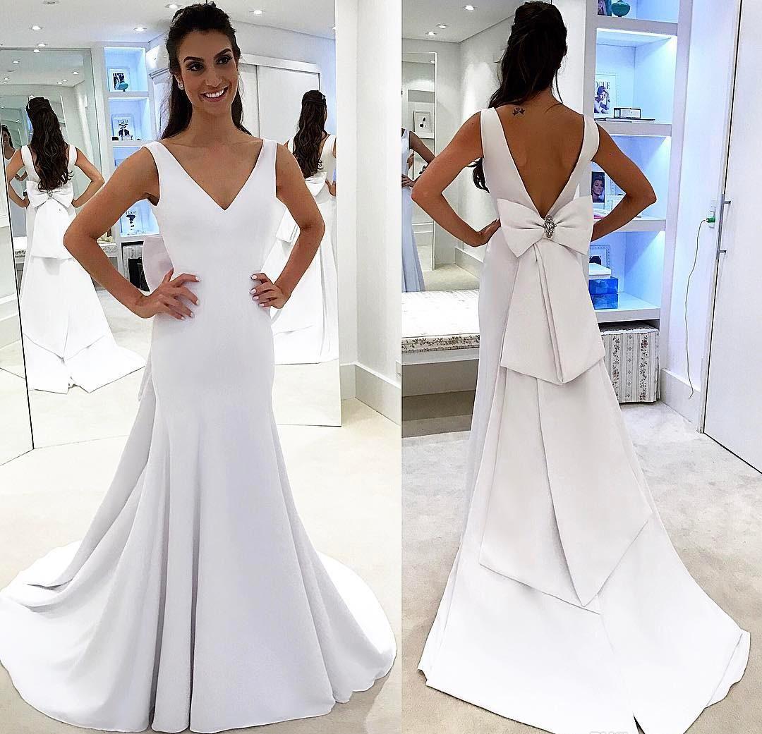 Nueva llegada Blanco puro Vestido de novia simple Sirena modesta Espalda abierta Correas de espagueti Country Garden Novia Vestido de novia Por encargo Tallas grandes