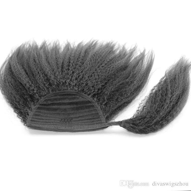 8A Grade Kinky Yaki Straight Ponytail Hair Extensions Human Hair Double Weft Brazilian Unprocessed Virgin Hair Clip Ponytail hairpiece 120g