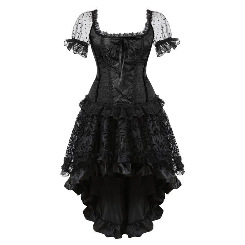 overbust corset dress victorian plus size shoulder straps Burlesque Sleeves  Corset and Skirt Set lace flower halloween black