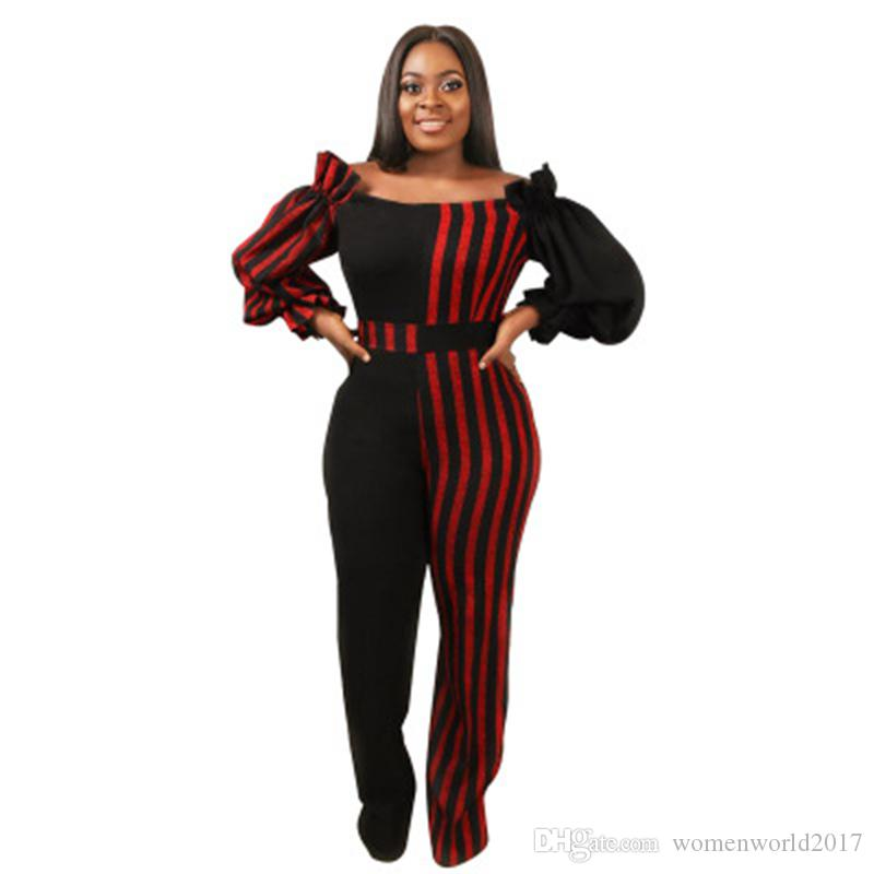 e7396244a66 2019 Red Black Striped Sexy Jumpsuit For Women Slash Neck Long Lantern  Sleeve Party Romper Casual Color Block Wide Leg Overall From  Womenworld2017