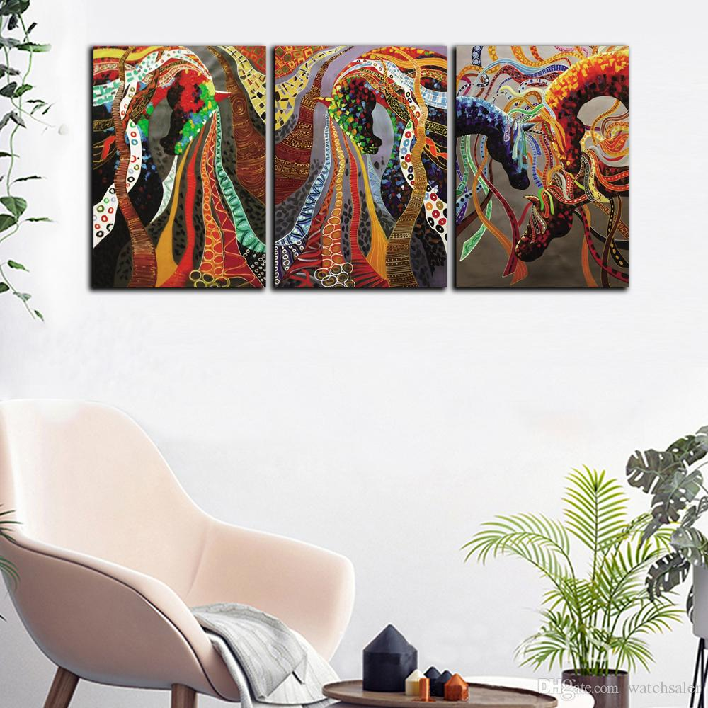 Large 3 Panel HD Prints Poster Red Abstract Colorful Horse Oil Painting Home Wall Art Picture On Canvas For Living Room Decor