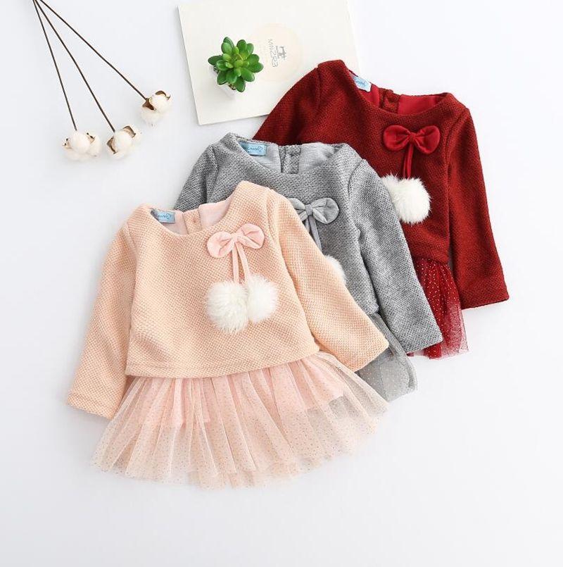 5d8eb86467dd 2019 Girls Gold Dresses Baby Long Sleeve Knit Dresses Girls Woollen ...