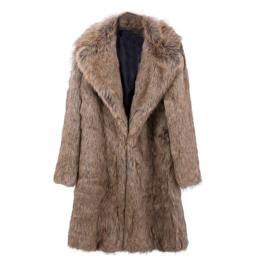 Mens Warm Plus Thickening Long Coat Jacket Faux Fur Parka Outwear Cardigan winter boy male fashion gentleman style Faux Fur coat