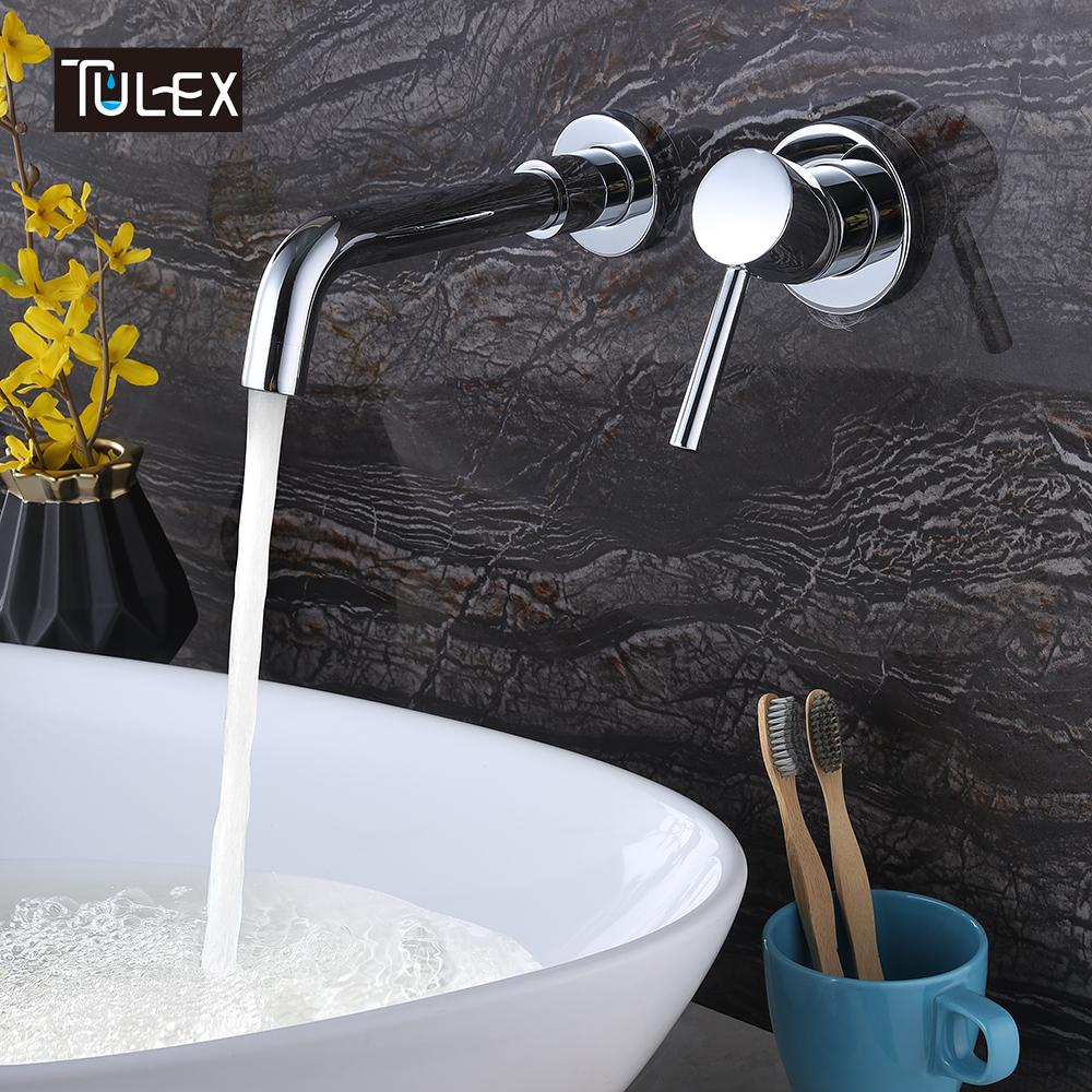 2018 Tulex Bathroom Basin Mixer Brass Wall Mounted Faucet Chrome ...