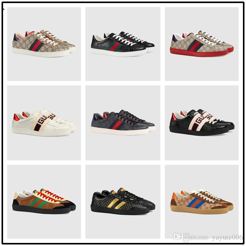 3392c6afa51 2018 High Quality Luxury Brand Men Genuine Leather Ace Bee White Sneaker  Women Casual Shoes Male Ladies Sports Shoes With The Box EUR 38 44 Cute  Shoes Green ...