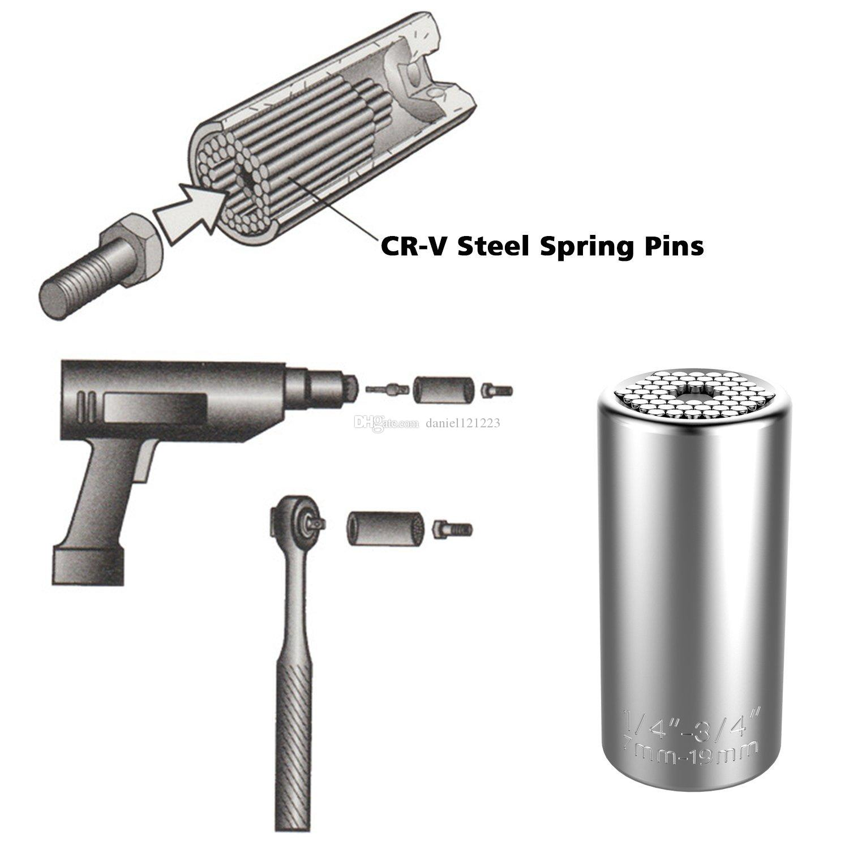Universal Socket,Kusonkey Multi-function 7mm-19mm Universal Sockets Metric Wrench Power Drill Adapter Socket Professional Repair Tools