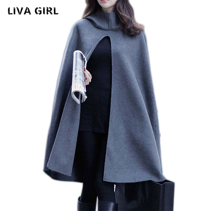 6465b8a7a29a New Women Hooded Cloak Coat Bat Sleeve Long Poncho Cape Coat 2018 ...