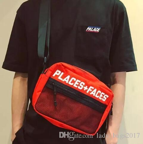 العلامة التجارية الجديدة الأماكن + وجوه 3M سكيتبورد عاكس حقيبة P + F رسالة حقائب عارضة الرجال والنساء الهيب هوب حقيبة الكتف مصغرة حزم الهاتف المحمول