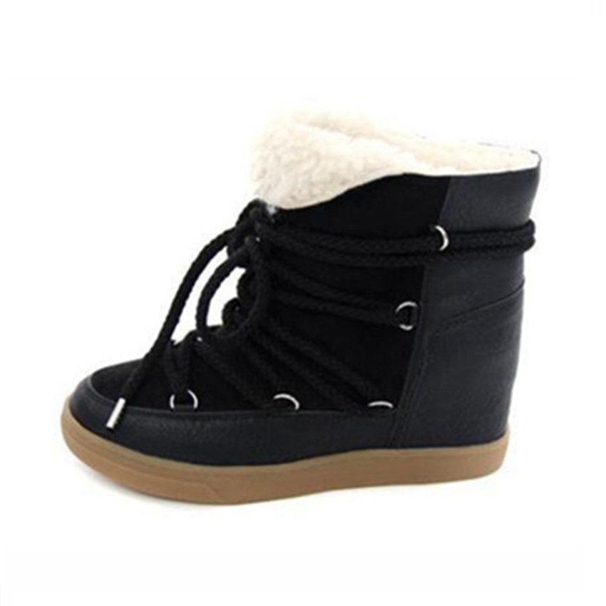 1e510d8fe1aa Botas de invierno Zapatos de mujer Cuñas ocultas Botas Elevador con  cordones Calzados informales para mujer Botas de tobillo Zapatillas de  deporte de ...