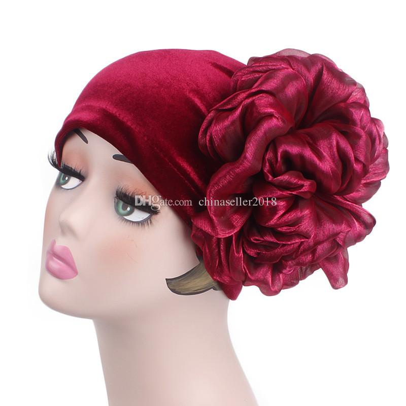 33c3c70e947 Muslim Women Stretch Velvet Flower Turban Hat Cancer Chemotherapy Bandanas  Chemo Beanies Caps Headwrap Hijab Hair Accessories Women Muslim Cap Women  Turban ...