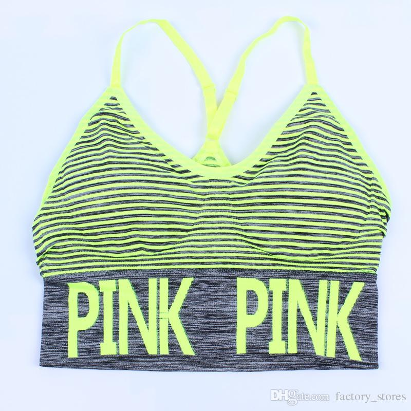 Love Pink Letter Women Racerback Sports Bra Workout Running Yoga Vest Push Up Fitness Tops Sexy Underwear Crop Top Adjustable Strap Bra