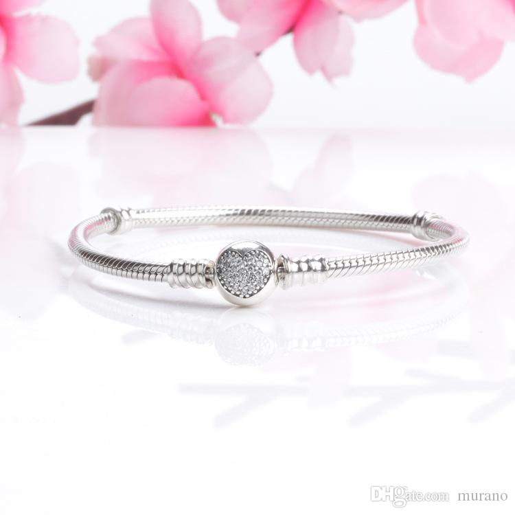 62556348d Real S925 Sterling Silver 3mm Bangle Heart CZ Pave Bracelet Fit Pandora  Charms European Beads Bracelet Jewelry DIY Making Photo Charm Bracelet  Leather Charm ...