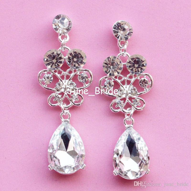 Moda sposa orecchini gioielli orecchio o trapezio cristallo trasparente cristallo da sposa sera prom partito orecchio decorazione gioielli orecchino goccia