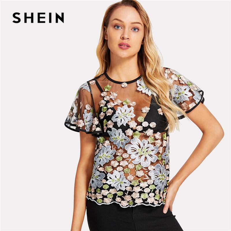 11a51de861db61 2019 SHEIN Black Floral Embroidered Butterfly Sleeve Sheer Mesh Top Women  Round Neck Short Sleeve Blouse 2018 Sexy Going Out Blouse From Baiqian, ...