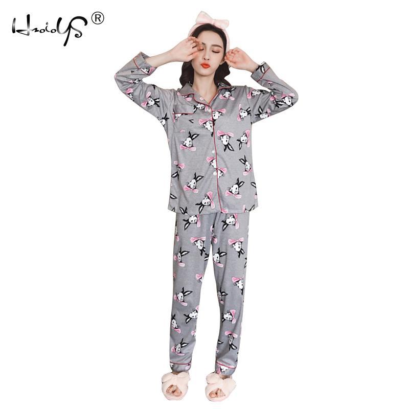ae48d73db4 Pajamas Autumn Winter Women Cotton Pajama Sets Cartoon Cardigan ...
