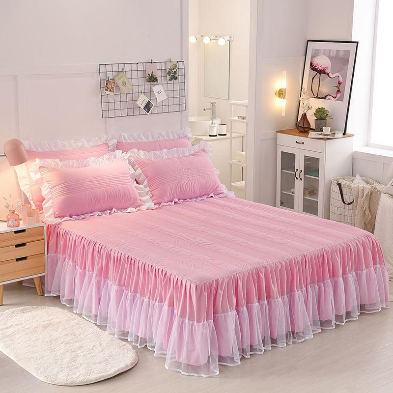 0038ee5d96 2 Styles Pure Cotton Lace Solid Color Princess Bed Skirt Single Piece /  Three Sets Of Sheets Bed Cover Home Decoration Brown Bedskirt Skirt With  Ruffles ...