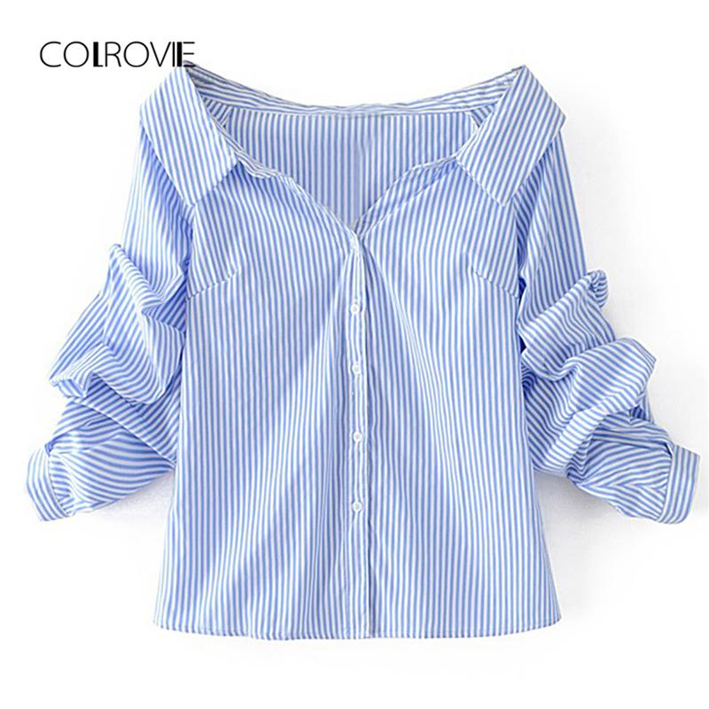 90765a23aebe20 Wholesale Blue Off The Shoulder Single Breasted Casual White Blouse Shirt  2018 Autumn Bishop Sleeve Sexy Women Blouse And Tops Online with  $60.59/Piece on ...