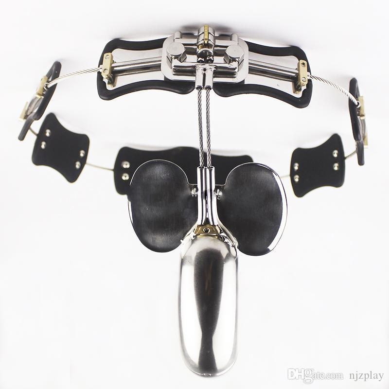 2018 Stainless Steel Male Chastity Belt Model-T Chastity Lock Cock Cage BDSM Sex Toys For Men Gay Penis Restraint Device Adult games