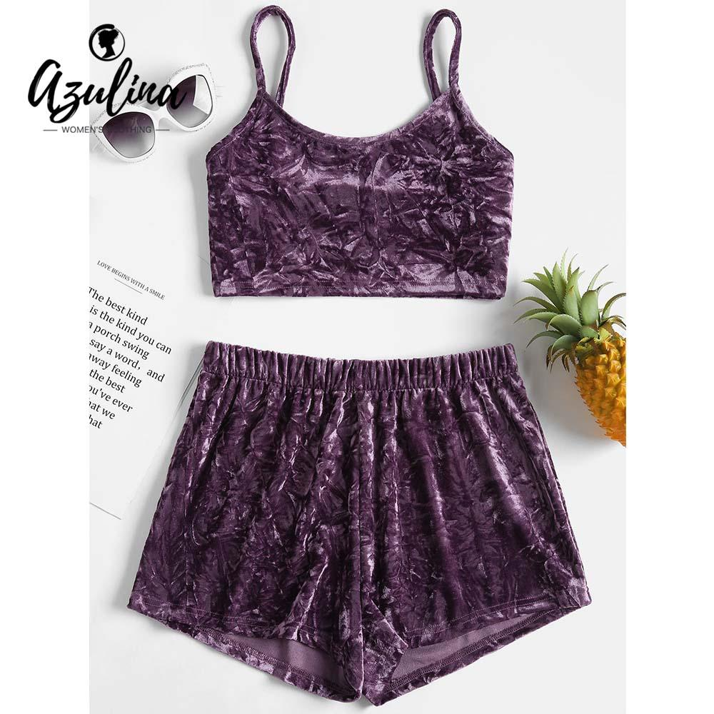 AZULINA Skinny Crushed Velvet Top Shorts Two Piece Set Summer Women Sets  Spaghetti Straps Crop Top High Waist Shorts Ladies Suit
