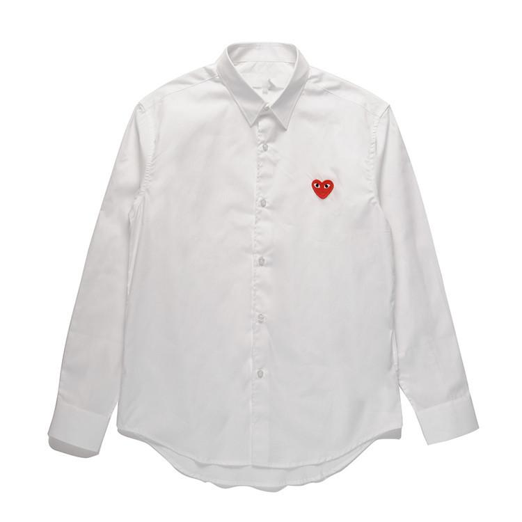 13ceffaa75 2019 Mens Designer Shirts COMMES PLAY Japanese Heart Emoji DES GARCONS  Clothing Off Long Sleeved Men Women Cotton White Red Cardigan CDG Shirt  From ...