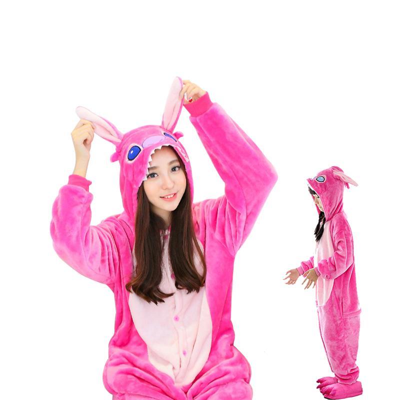 Flannel Onesie Pijamas Animal De Bande Dessinée Mignon Bleu / Rose Pyjamas Stich Ensembles Cosplay Costume De Soirée Vêtements De Nuit Pour Hommes Femmes