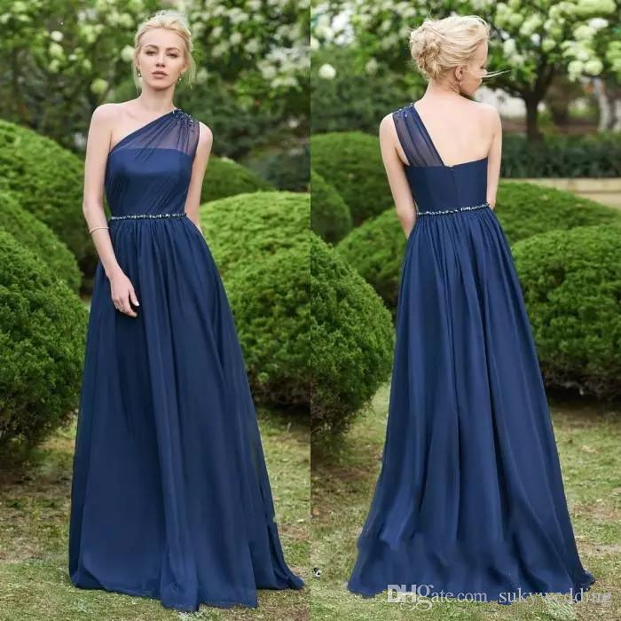 a682632d0c Navy Blue Chiffon Bridesmaid Dresses 2019 Long Wedding Prom Dresses Beaded One  Shoulder Maid Of Honor Dresses Evening Wear Floor Length Discount  Bridesmaid ...