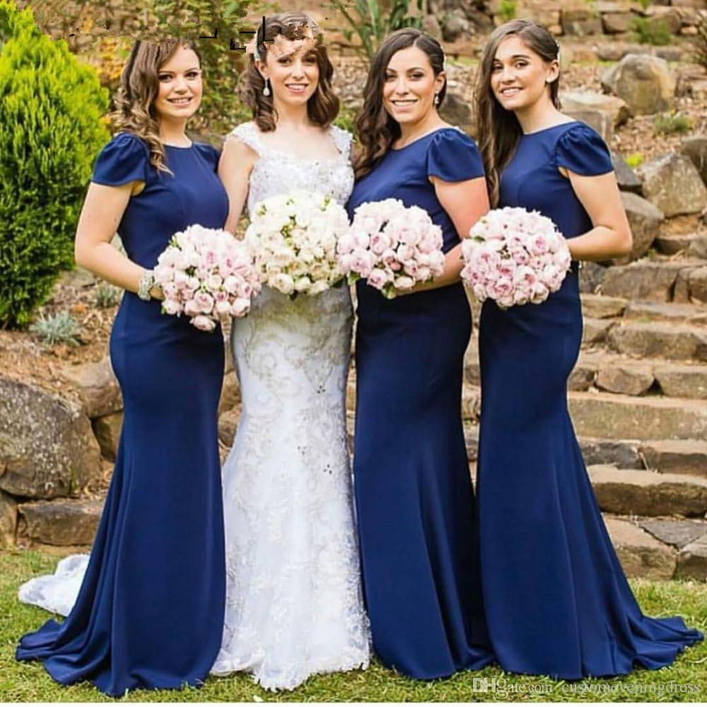 Elegant Royal Blue Bridesmaid Dresses Long Mermaid Bridesmaid Dresses 2018 Zipper Back Sweep Train Chiffon Party Dresses Cheap