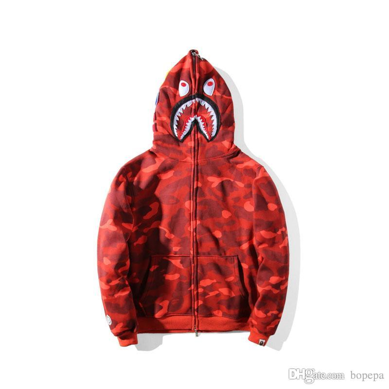 a30c0d69908c 2019 Lover Shark Print Red Camo Hoodie Brand Clothing Hip Hop ...