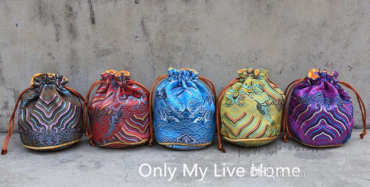 Wave Round Bottom Chinese Brocade Small Bucket Bag Drawstring Silk Jewelry Pouch Bracelet Gift Bag Pouch 3 size choose