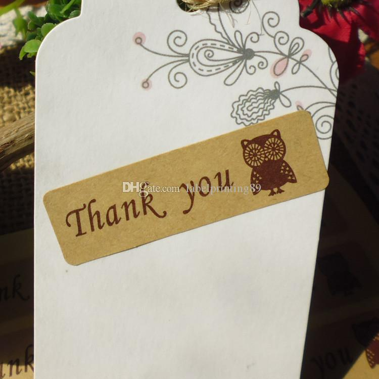 5*1.5cm rectangle thank you and owl brown paper self adhesive sticker label,gift and bags seal sticker