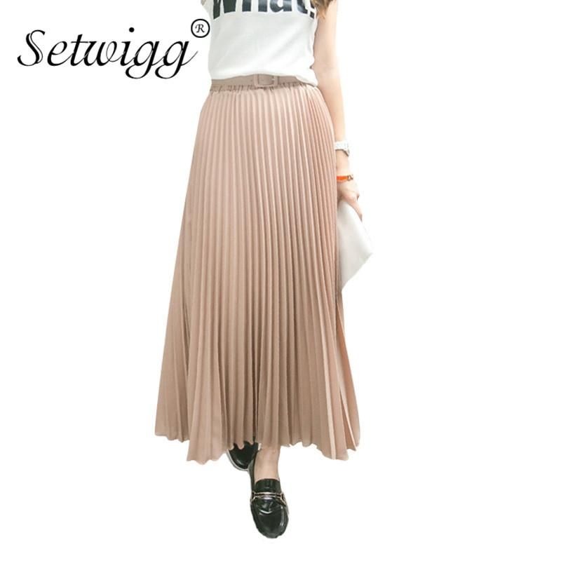 9e467b487bd8 WIGG 90cm Long Chiffon Accordion Pleated Skirts Elastic Waist Belt Casual  Candy Maxi Long Bohemian Summer Skirts SG03 From Edmund02, $27.5 |  DHgate.Com