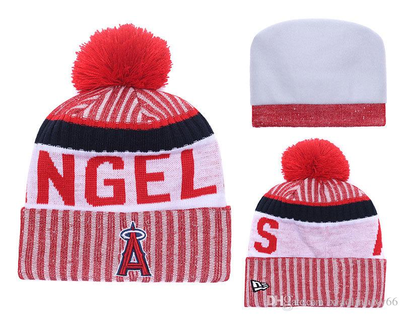 b629f830986 2018 New Sport Angels Baseball Skullies Hat Pom Cuffed Knitted Hats With  Embroidered Team Logo Fans Fashion Winter Warm Women Beanies