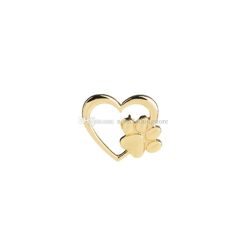 2018 Silver Gold Color Love Heart Paw Lapel Pin Pet Paw Print Pet Loss And  Pet Memorial Pins Jewelry Dog Cat Lover Gifts From Niceclothingstore, $0 58