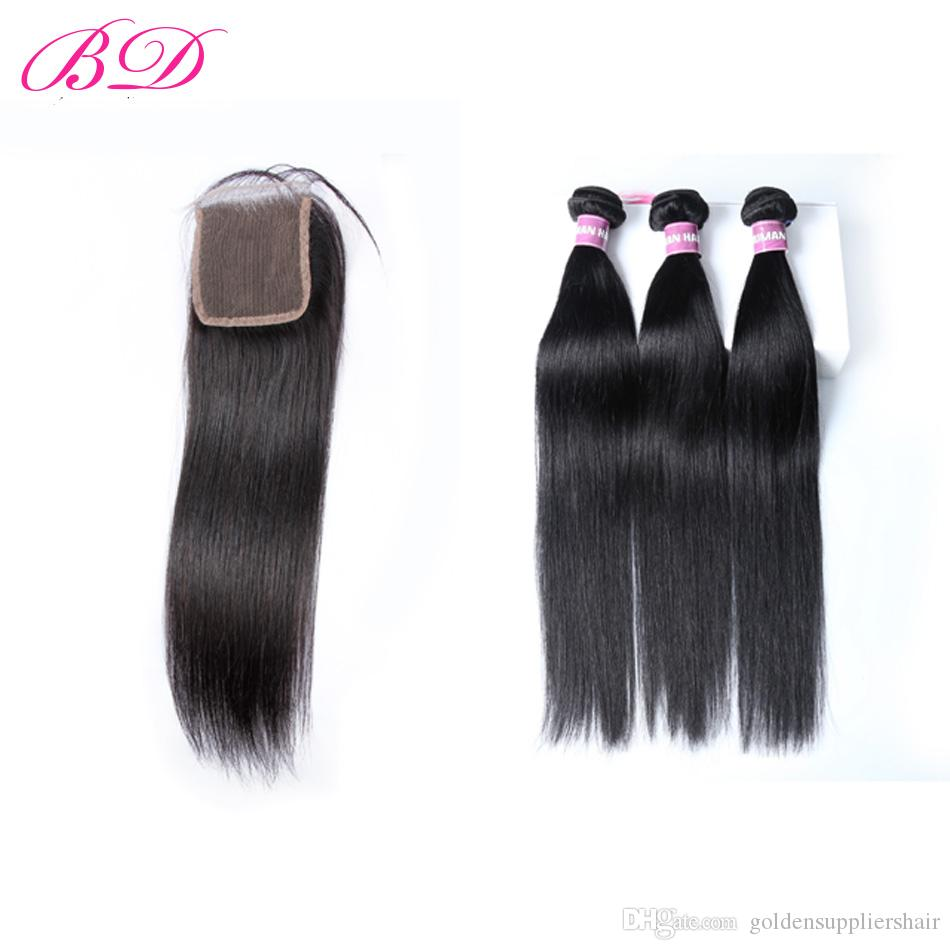 Bd Brazilian Straight Hair Weave Bundles With Top Lace Closure Thick