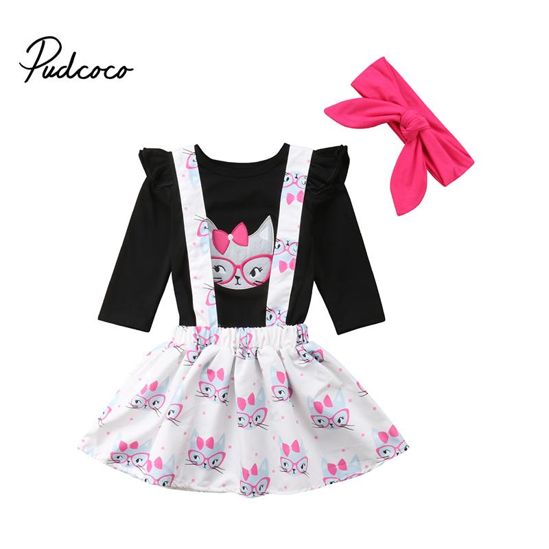 b663fabaf 2019 Cute Kids Baby Girl Fall Winter Clothes Set Cat Print Long Sleeve T  Shirt Overall Skirt Dress Outfits From Newestable, $44.37 | DHgate.Com