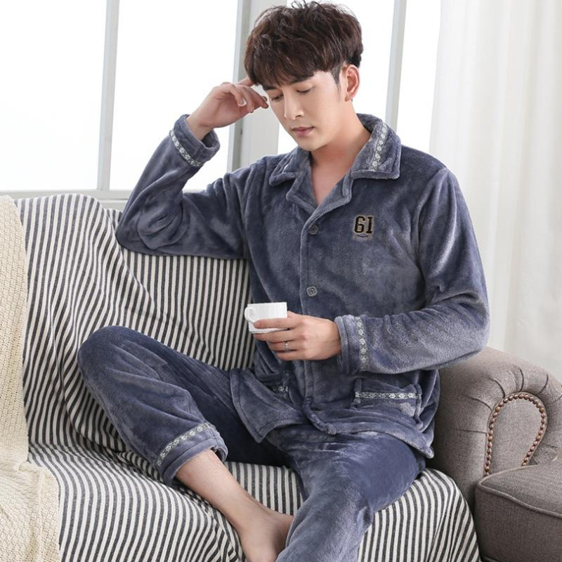 a942a43519af 2019 Fashion 2018 Plaid Pajamas Set Men S Clothing Winter Coral Fleece Plus  Size Flannel Thicken Warm Sleepwear Suit Casual Homewear From Victoriata