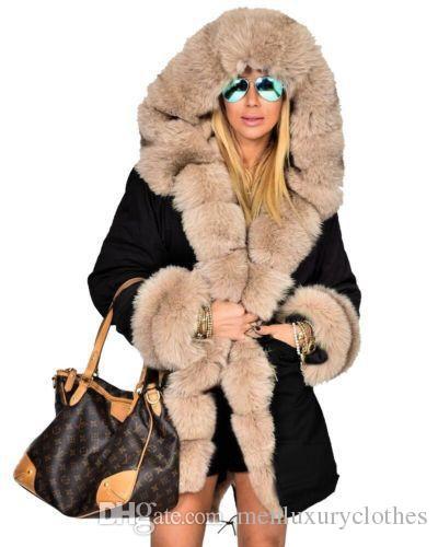 new product 573be 99097 Piumini lunghi da donna Giacche invernali con collo alto e caldo in  pelliccia Cappotti firmati Army Camouflage Military Down Parkas Coat