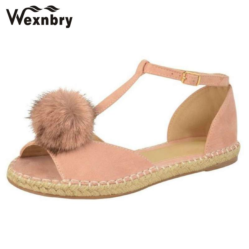 Women 2018 Summer Women Flats Ankle Wrap T Strap Hemp Bottom Shoes ... d64c7be6a62a