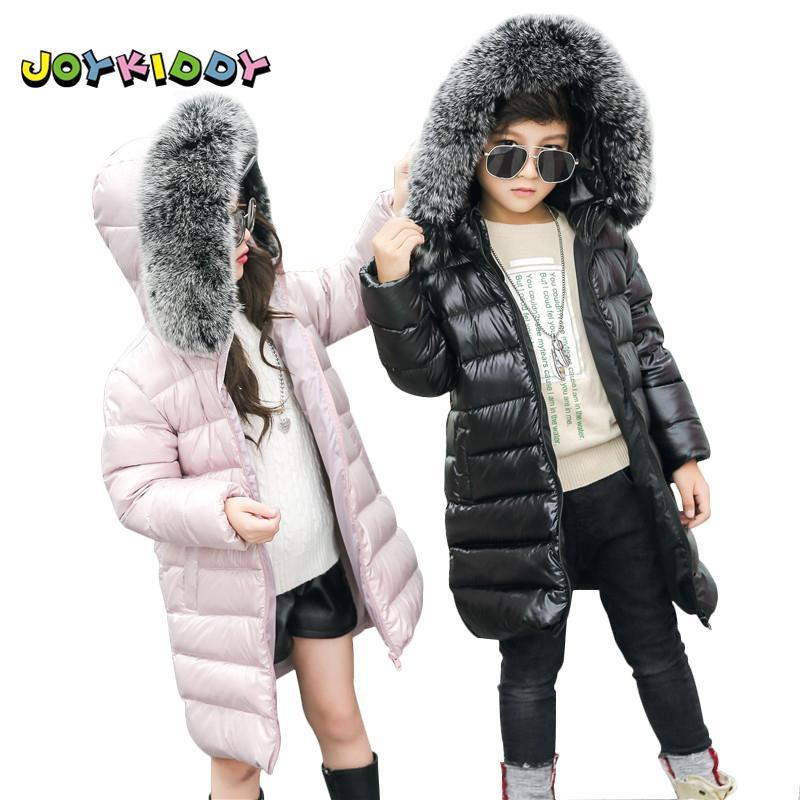 Kinder Lange Winterjacke für Mädchen Jungen Modische 90% Ente Unten Real Fuchspelzkragen Mantel Jacke Kinder Mit Kapuze Warme Parkas
