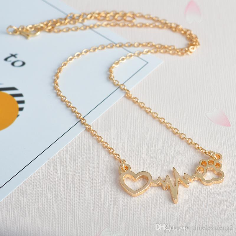 Creative lovers heart shaped necklace Dog paw heart pendant Rose gold silver gold heartbeat electrocardiogram necklace