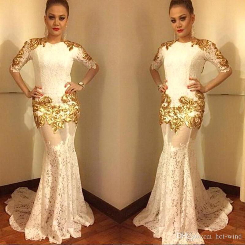 2020 White Jewel Neck Half Long Sleeves Mermaid Evening Dresses with Gold Appliqued Full Lace Sexy Illusion Bodices Prom Gowns
