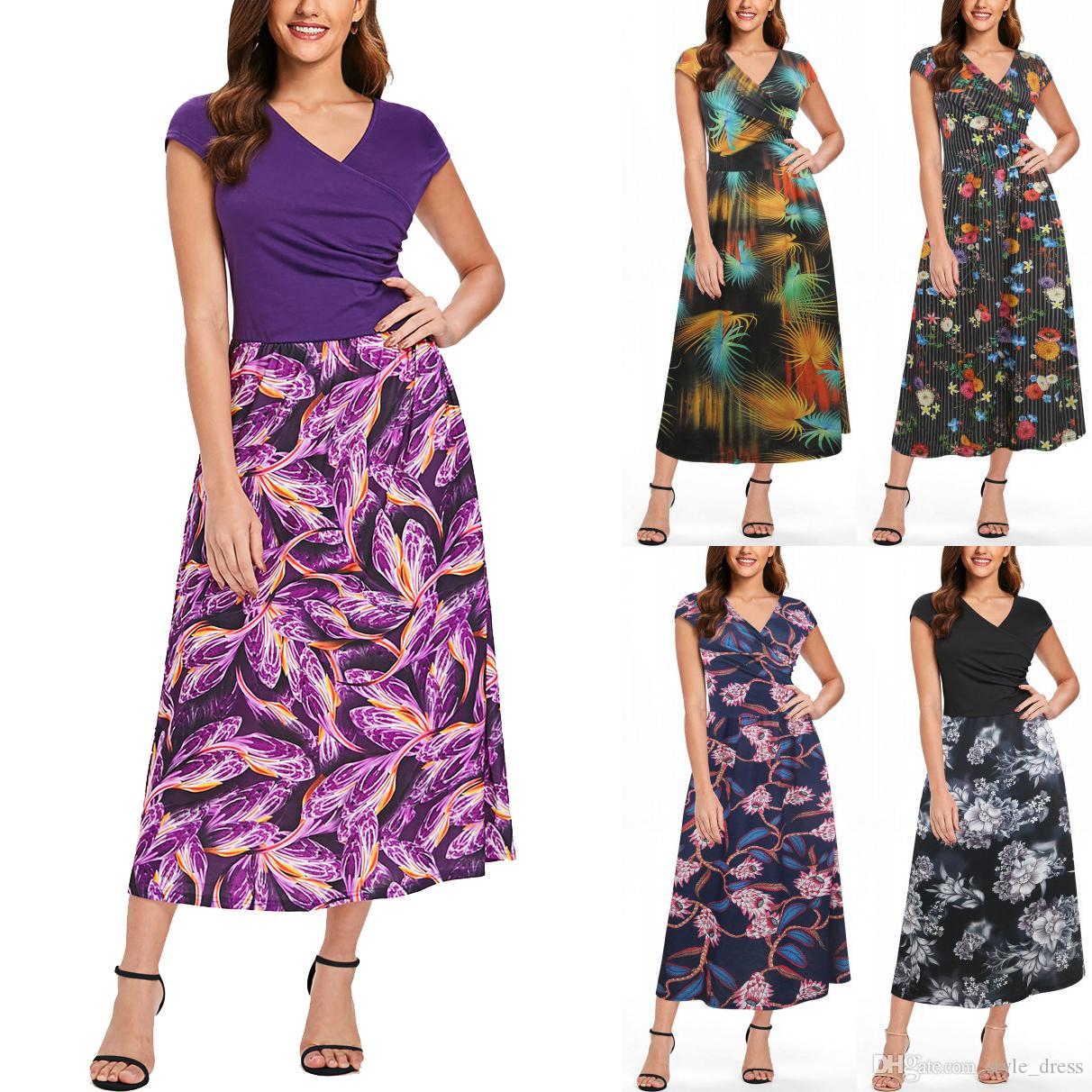f71c5723504f Women Floral Printed Maxi Dress V Neck Short Sleeve Patchwork Casual Tunic  Boho Long Work Party Dress Dress Shopping Womens Sundresses From  Style dress