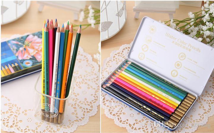 Цвет воды карандаши цвет карандаш 12 цветов подарок жестяная коробка секрет сад Pen взрослые дети рисунок карандашом высокое качество бесплатно DHL SN1192