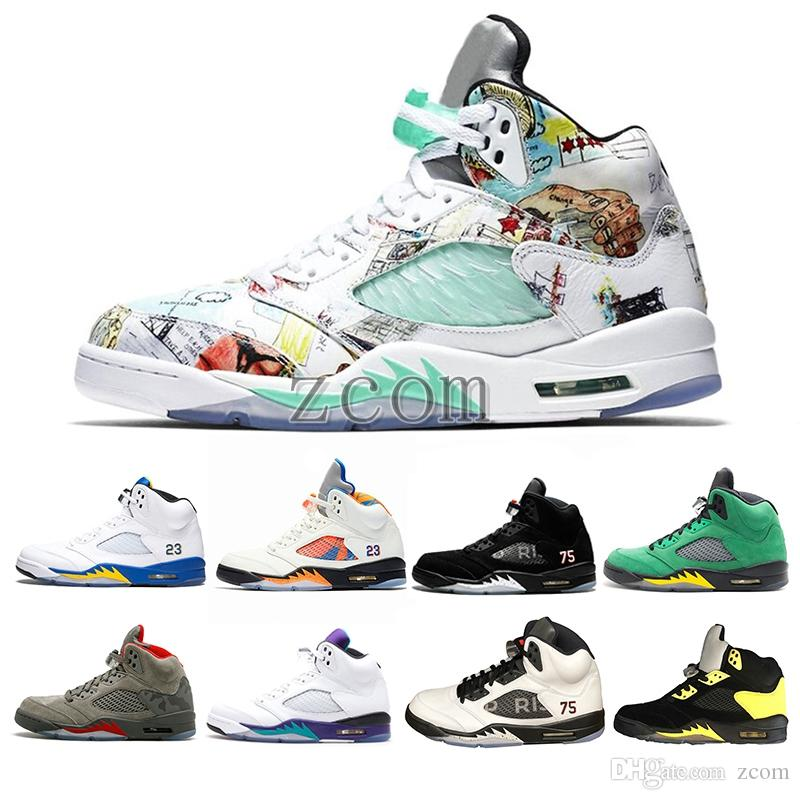 f34b50e48f8f 2018 New Wings 5 5s Mens Basketball Shoes PSG Black White Grape ...