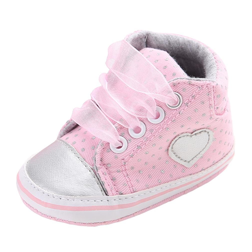2019 Newborn Baby Crib Shoes Girls Sneakers Infant Short Boots Lace Up Soft  Sole First Walker Toddler PU Leather Upper Canvas Booties From Vingner 2e03105a3cbf