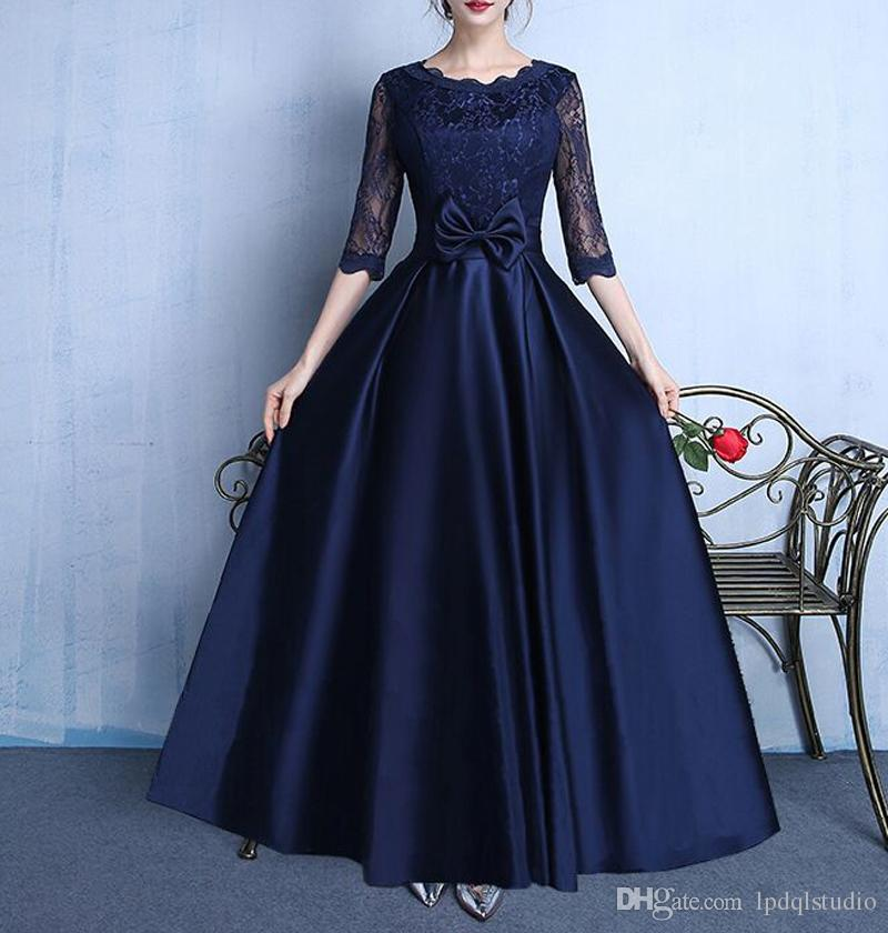 Elegant Satin with Lace Tea Length Mother of the Bride Dresses Detachable Bow Wedding Party Dresses Half Sleeves Mother of the bride dress