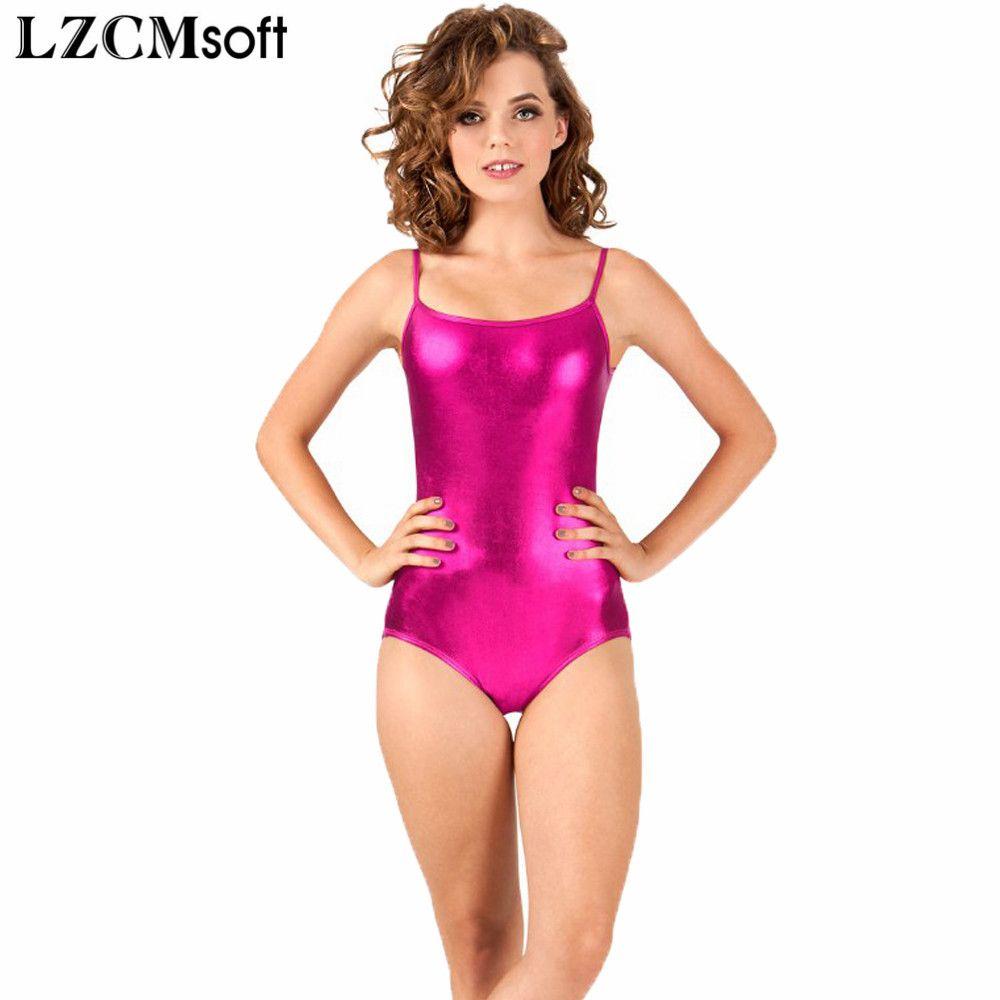 5214b0b201bc18 LZCMsoft Adult Shiny Camisole Gymnastics Leotard Women's Sleeveless  Metallic Leotards For Dancers Sexy Tank Tops Backless Design